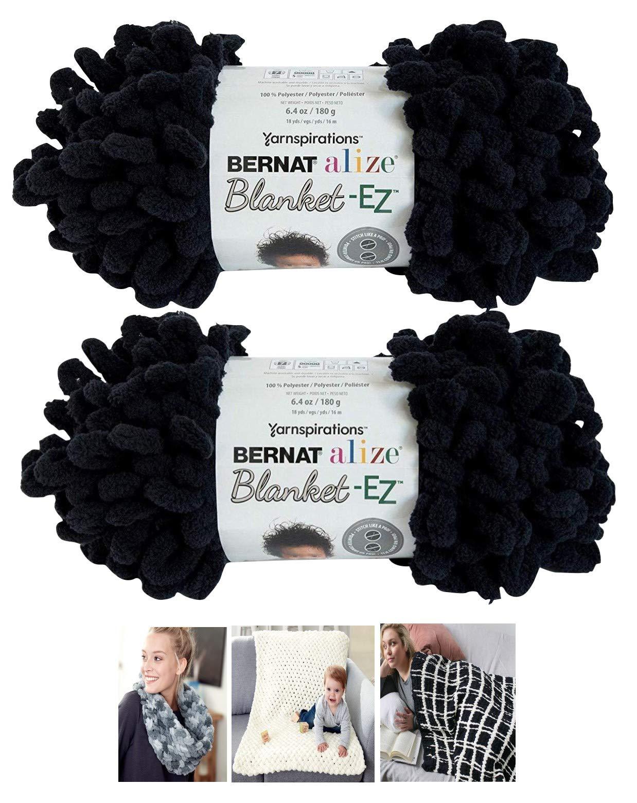 Bernat Alize EZ Blanket Yarn Bundle 100% Polyester 2 -Pack Black Plus 3 Patterns