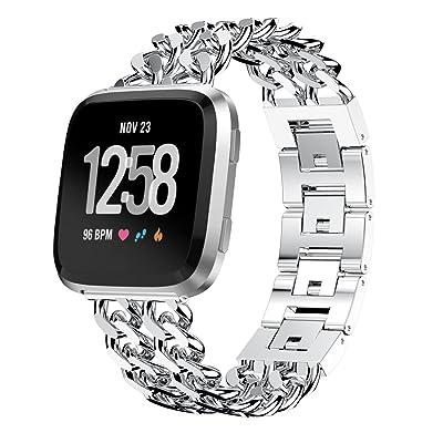 10principales Fitbit Versa Watch Band, réglable en acier inoxydable Sports Sangle de poignet Bracelet Bracelet Bijoux, accessoires de remplacement pour Fitbit Versa Santé et fitness montre intelligente