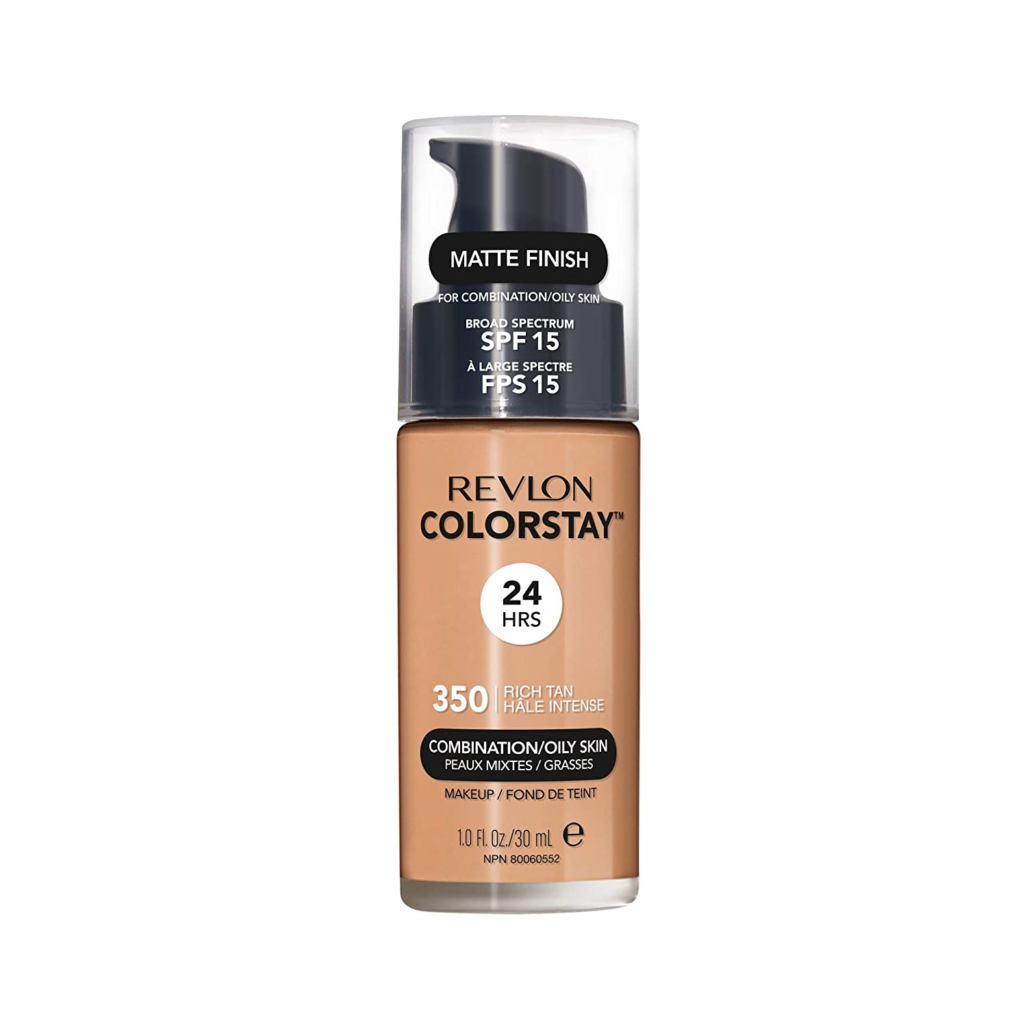 Revlon ColorStay Makeup for Combination/Oily Skin SPF 15, Longwear Liquid Foundation, with Medium-Full Coverage, Matte Finish, Oil Free, 350 Rich Tan, 1.0 oz