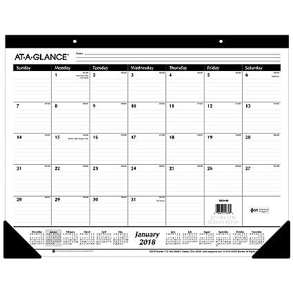 AT A GLANCE Monthly Desk Pad Calendar Ruled Blocks