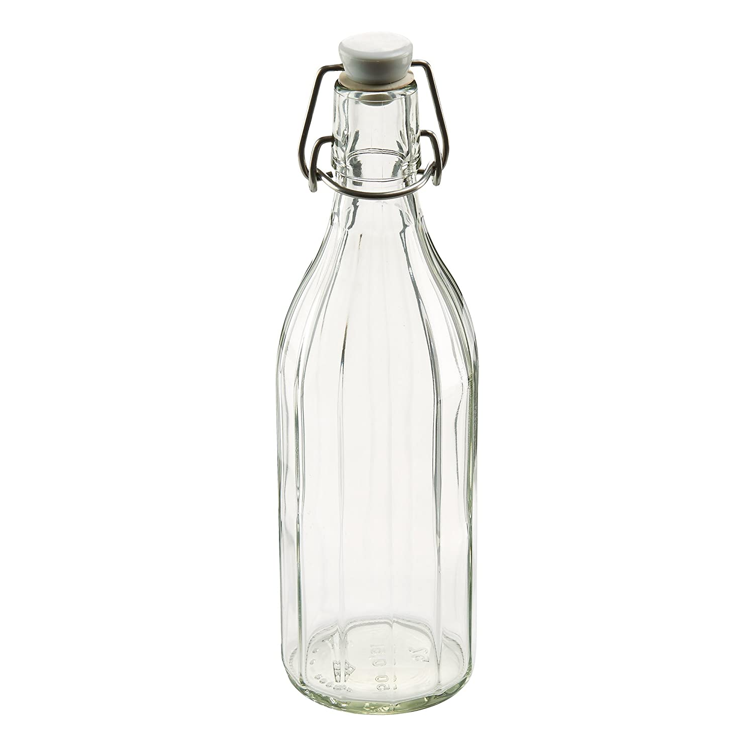 Leifheit 03180 Reusable Glass Bottle with Shackle Lock Stopper | Clear 03180-6