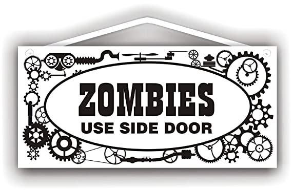 Mr.sign Zombies Use Side Door Cartel de Pared Madera Placa ...