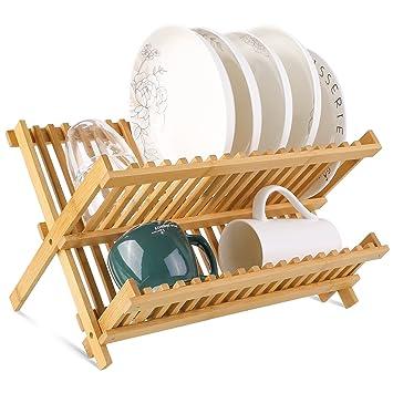 HOMFA Bamboo Dish Rack Plate Rack Collapsible Dish Drying Rack Multifunctional Dish Strainer 2 Tier for  sc 1 st  Amazon.com & Amazon.com: HOMFA Bamboo Dish Rack Plate Rack Collapsible Dish ...