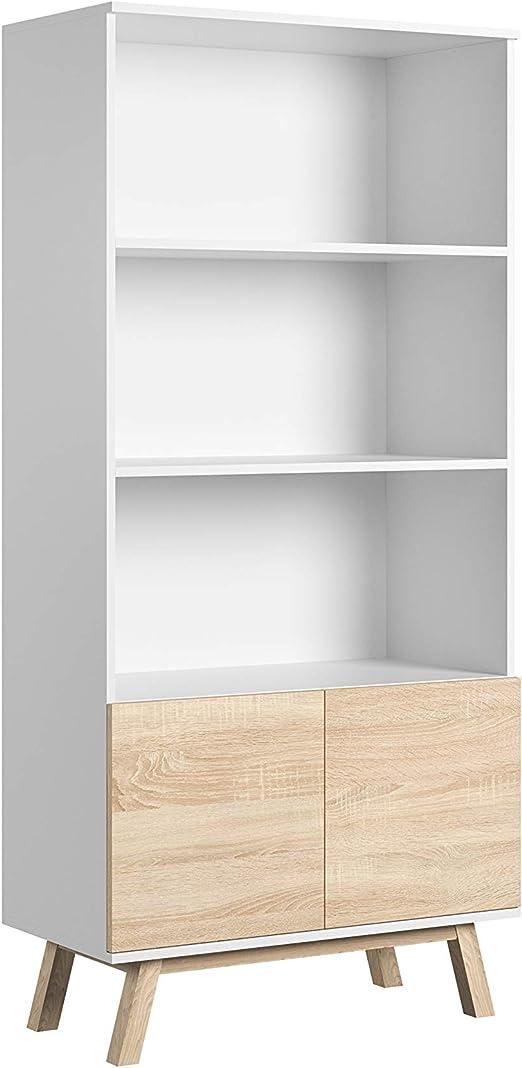 Bibliotheque Salon Meuble De Rangement Armoire Scandinave 2 Portes
