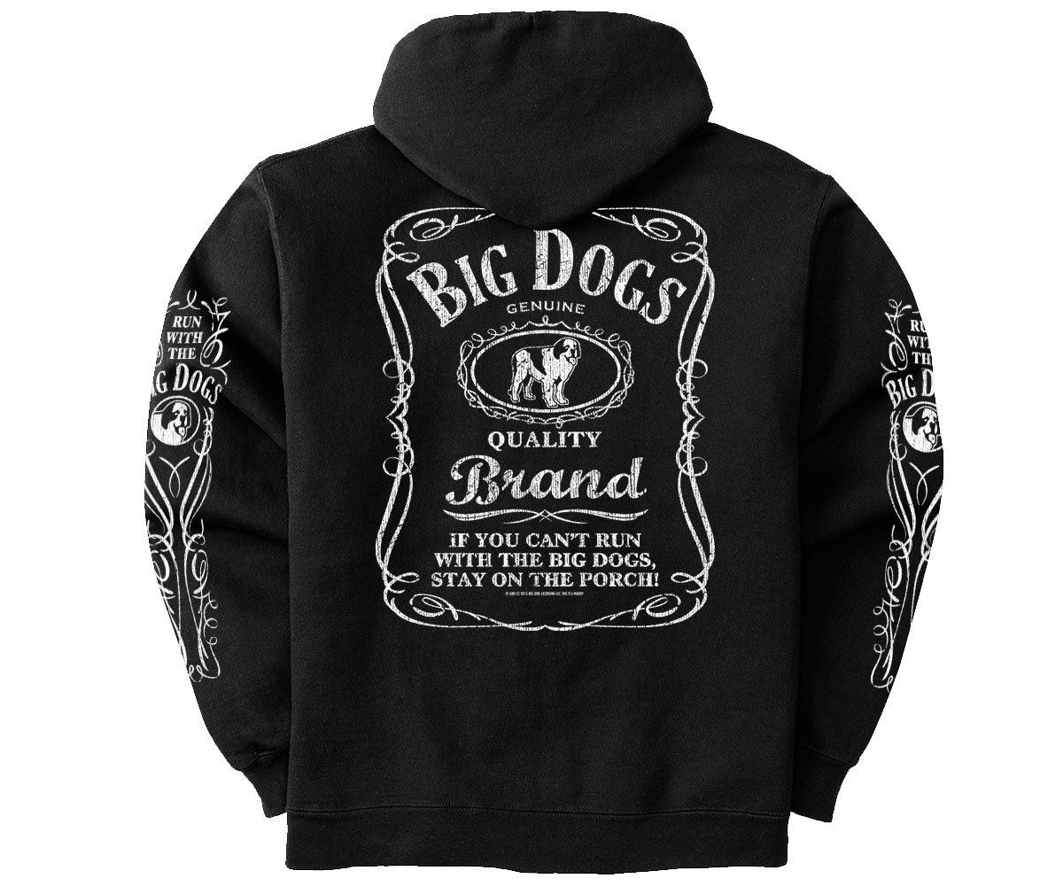 Big Dogs Run With Label Gold Medal Hoodie 2X Black by Big Dogs