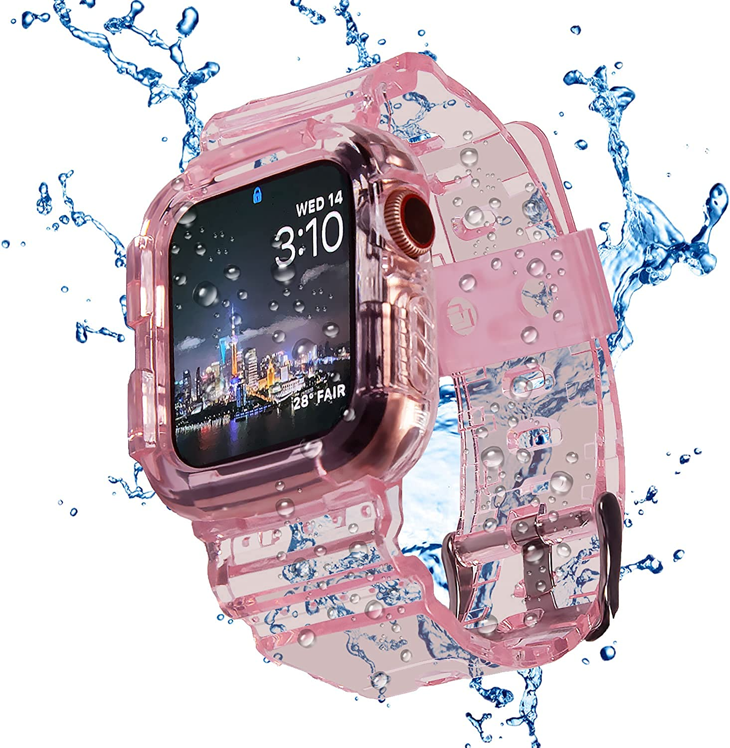 Blingbrione Case With Band Compatible For Apple Watch 38mm/40mm,Waterproof Shockproof Impact Resistant Rugged Protective Bumper Cover With TPU Silicon Soft Wristband For iphone Watch Series 6 5 4 3 2 1 SE.iwatch Sport Replacement Strap for Women Man