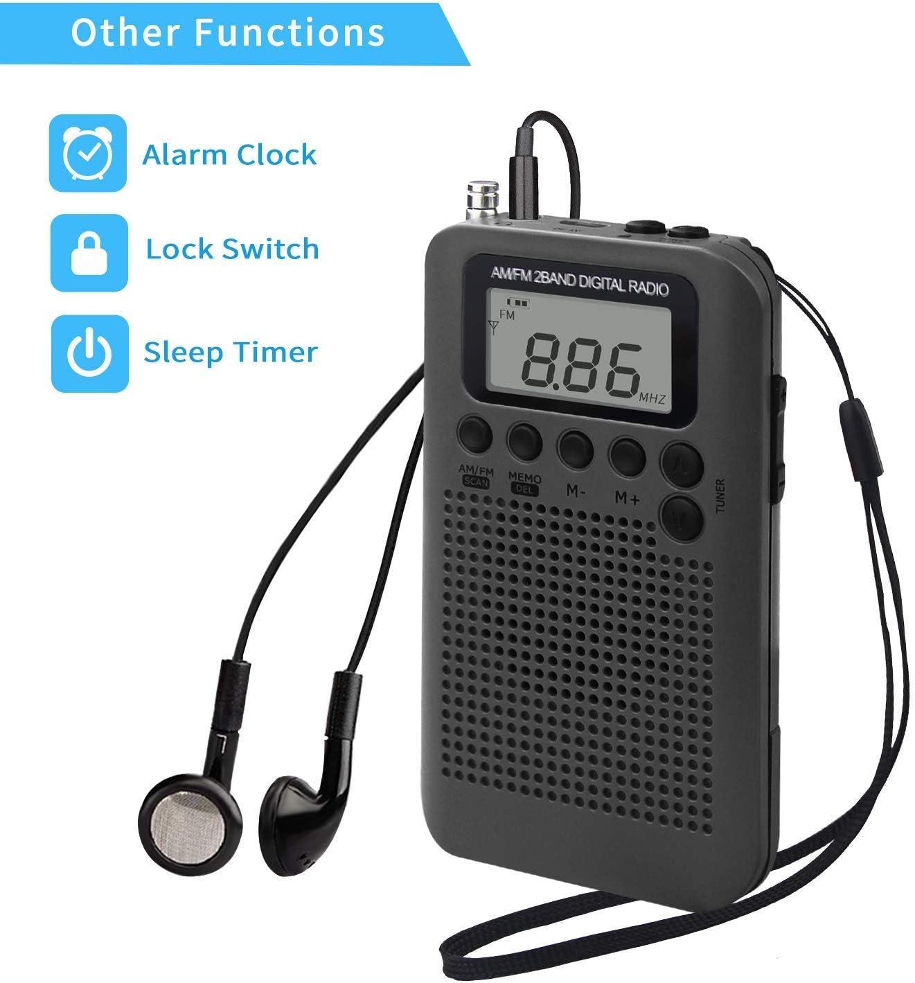 Gold Running Travel Songway AM//FM Pocket Digital Radio Alarm Clocks Sleep Timer Built-In Loudspeaker Portable Small Radio with Earphone for Outdoor Hiking