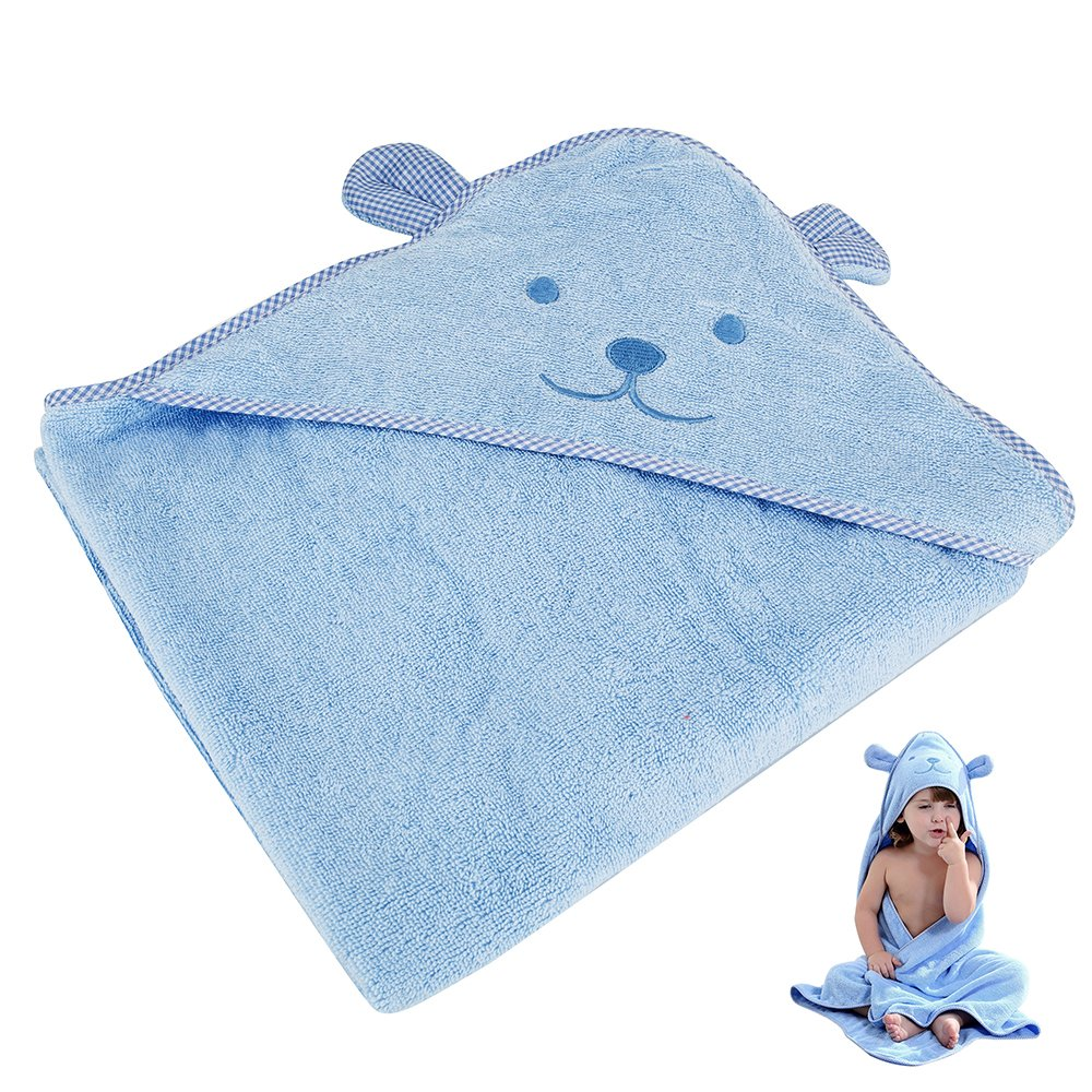 Baby Hooded Bath Towel Soft Thick Antibacterial Hypoallergenic Newborn Towel Wrap Robe Blanket with Hooded for Bath Pool Beach Shower Gift 0-6 Years Old 90X90CM (Yellow) Wrighteu