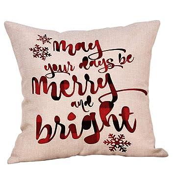 LANDF-OX Fundas de Cojín de Decoración de navideño Impresión de Patrones de Árbol de Navidad Funda de Almohada de Lino para Decoración Sofá Coche Cama, ...