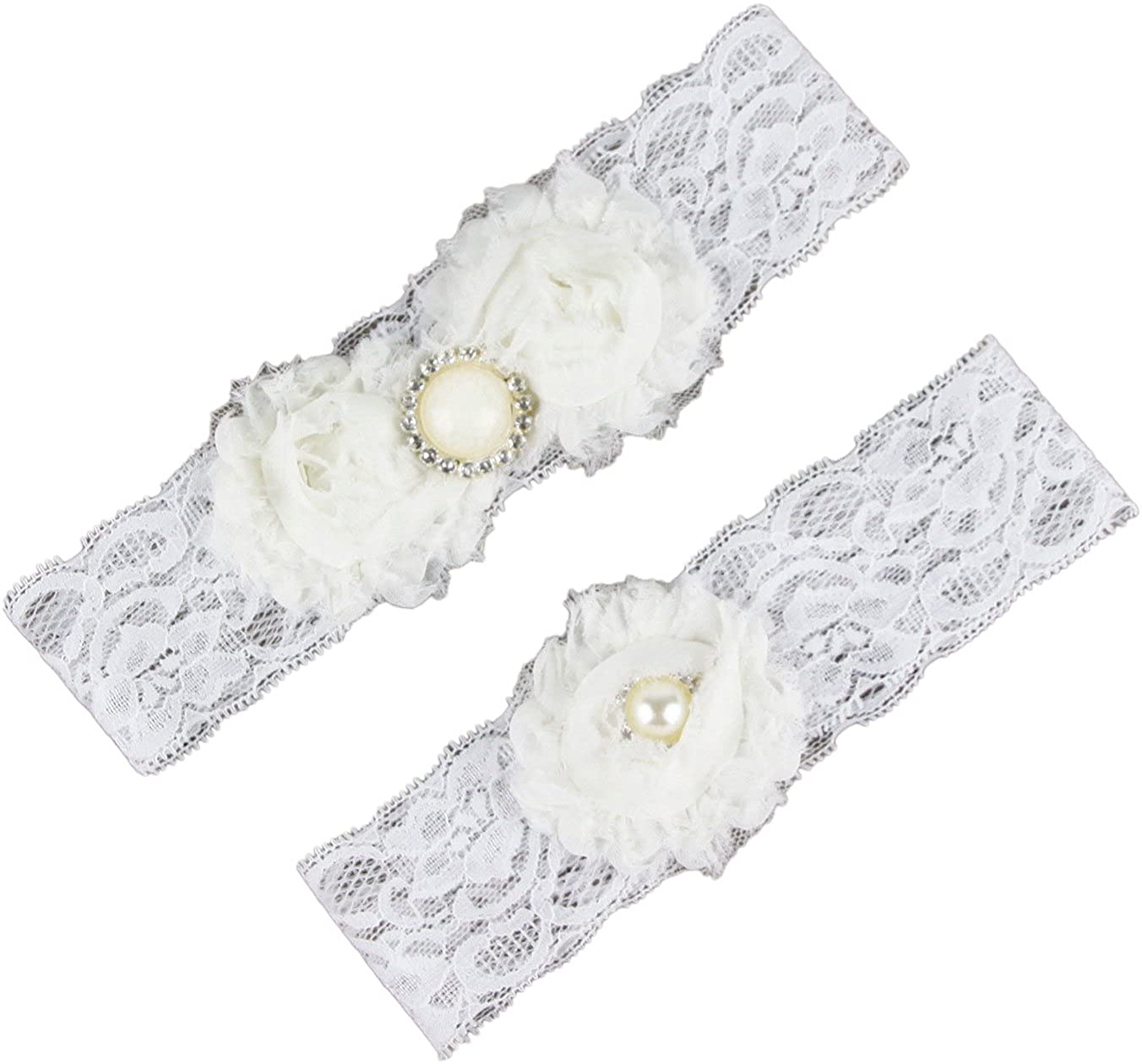 auguswu Women White Wedding Garters for Bride Lace 2 Pcs Sets AA-Garters-2-Burgundy
