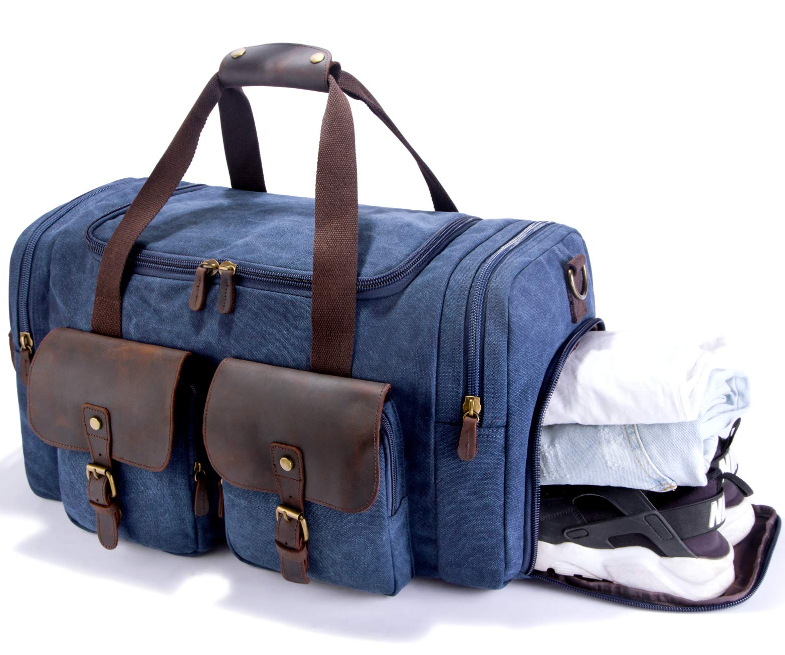 SUVOM Canvas Duffle Bag Leather Weekend Bag Carry On Travel Bag Luggage Oversized Holdalls for Men and Women(Blue)