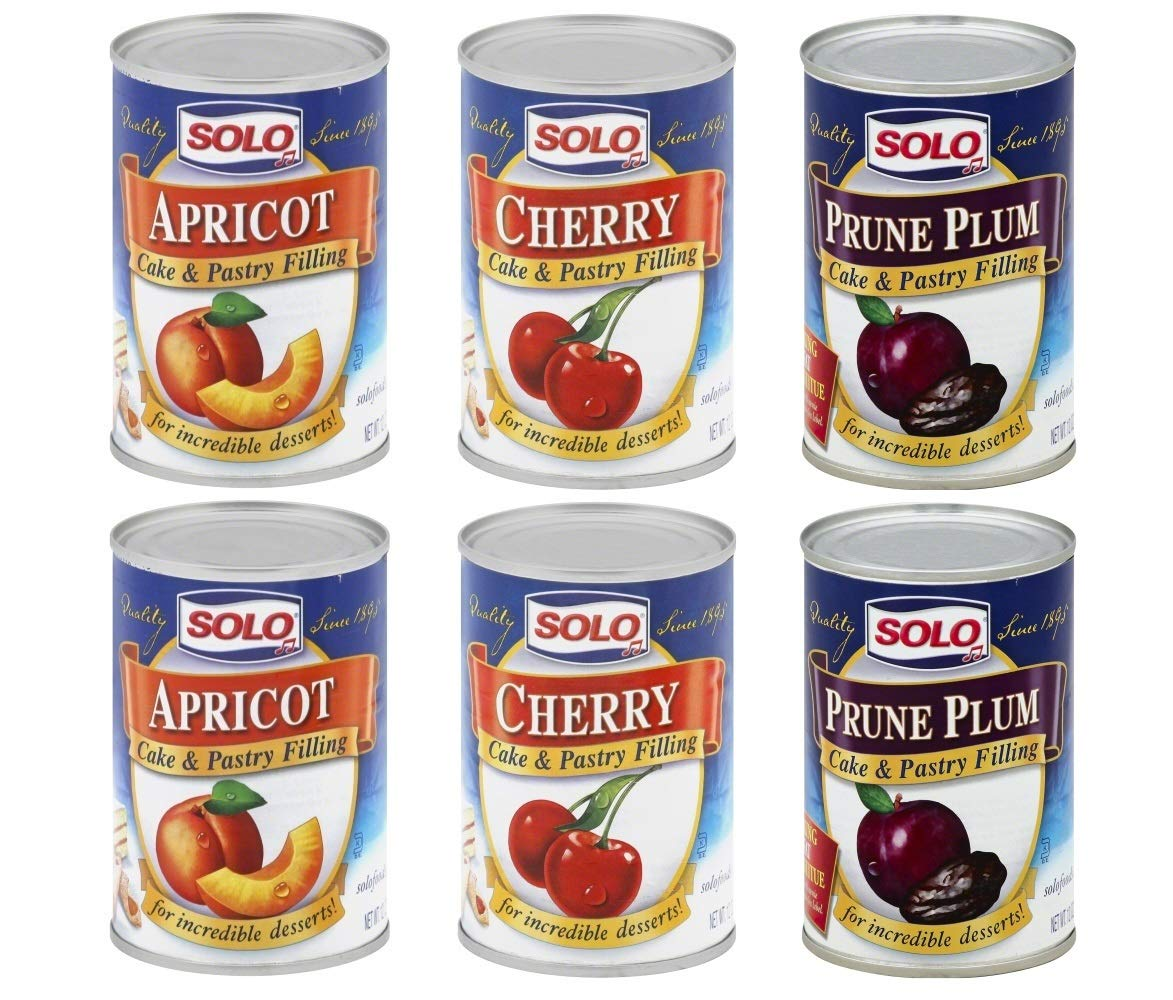 Solo Variety Pack Cake and Pastry Filling: Apricot, Cherry, Prune Plum, 2 Pack Of Each Flavour