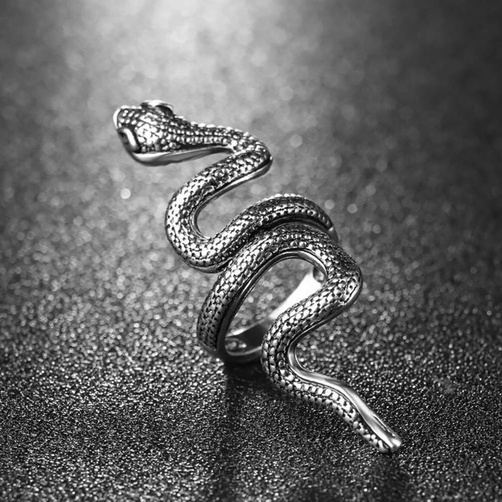 Snake Rings Retro Style Alloy Finger Rings Open End Adjustable Punk Style Rings for Men and Women Fashion Jewelry