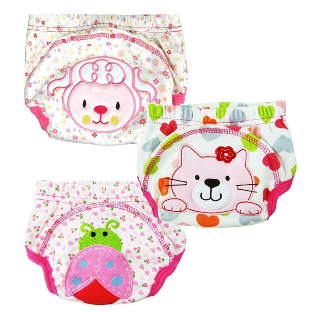 LOSORN ZPY 174; Deal of The Day Pack of 3 Baby Kids Potty Training Pants Washable Cloth Diaper Nappy Underwear ET1001