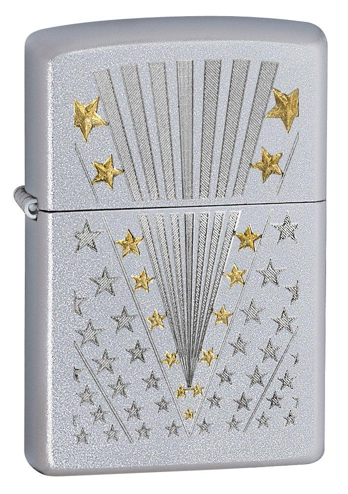 Zippo American Flag Lighters (Stars and Bars Satin Chrome)