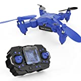 El Mini Drone giratorio DROCON Scouter para niños es un Quadcopter de bolsillo plegable con Modo de retención de altitud & Luz de búsqueda – 901H en Azul