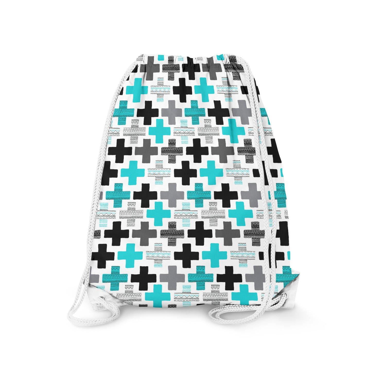 Geometric Cross Teal - Large (13.3 x 17.3) - Drawstring Bag