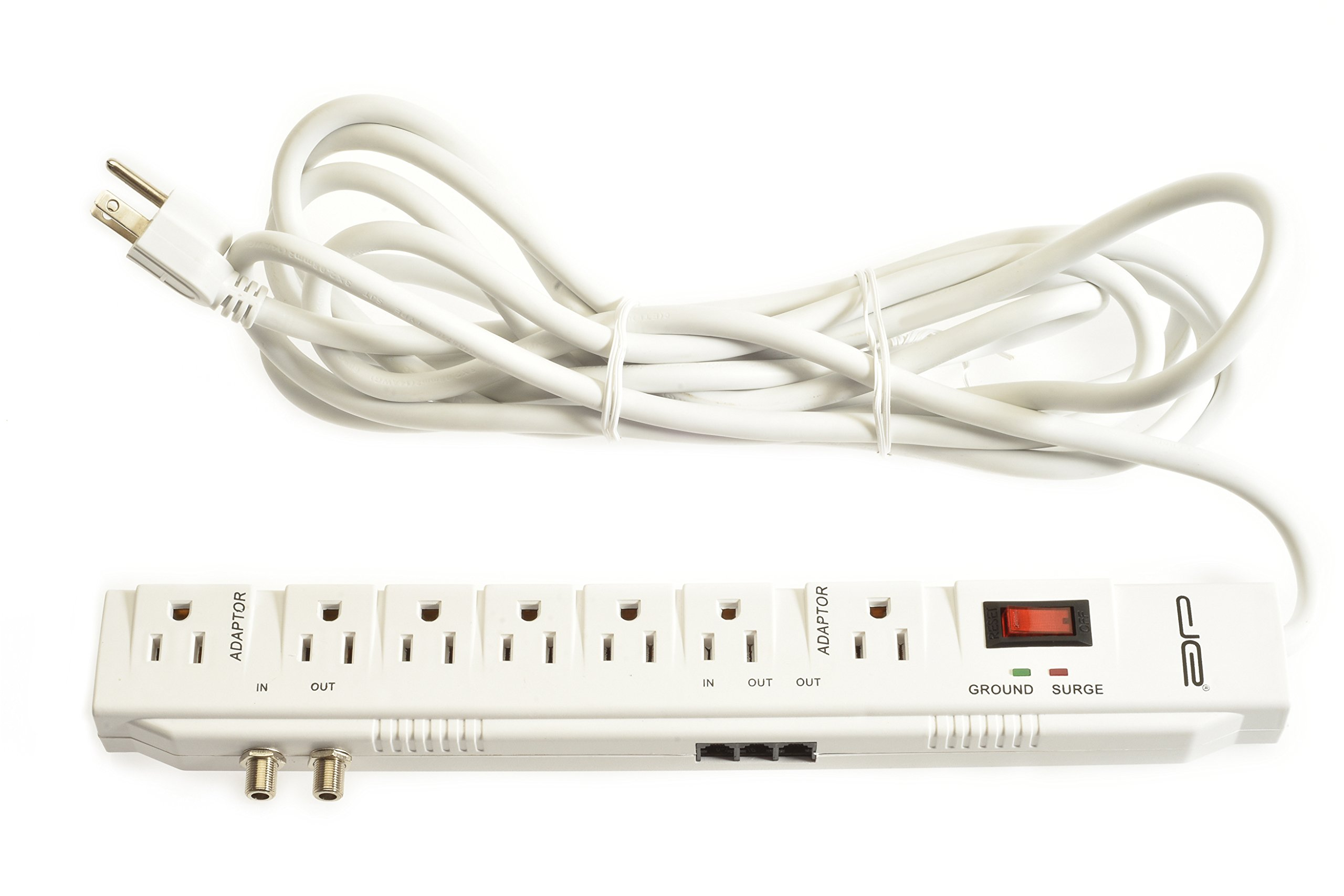 Digital Energy 15 Foot Long 7-Outlet 2400 Joules Surge Protector Power Strip, Heavy Duty 14 AWG Wire, ETL Certified, 15-Ft Long Extension Cord