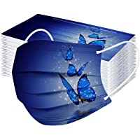 Alwayswin 50 st 3-lagers vuxen munskydd för andas dammtät bandana fjärilsmönster bandana engångs munskydd munskydd