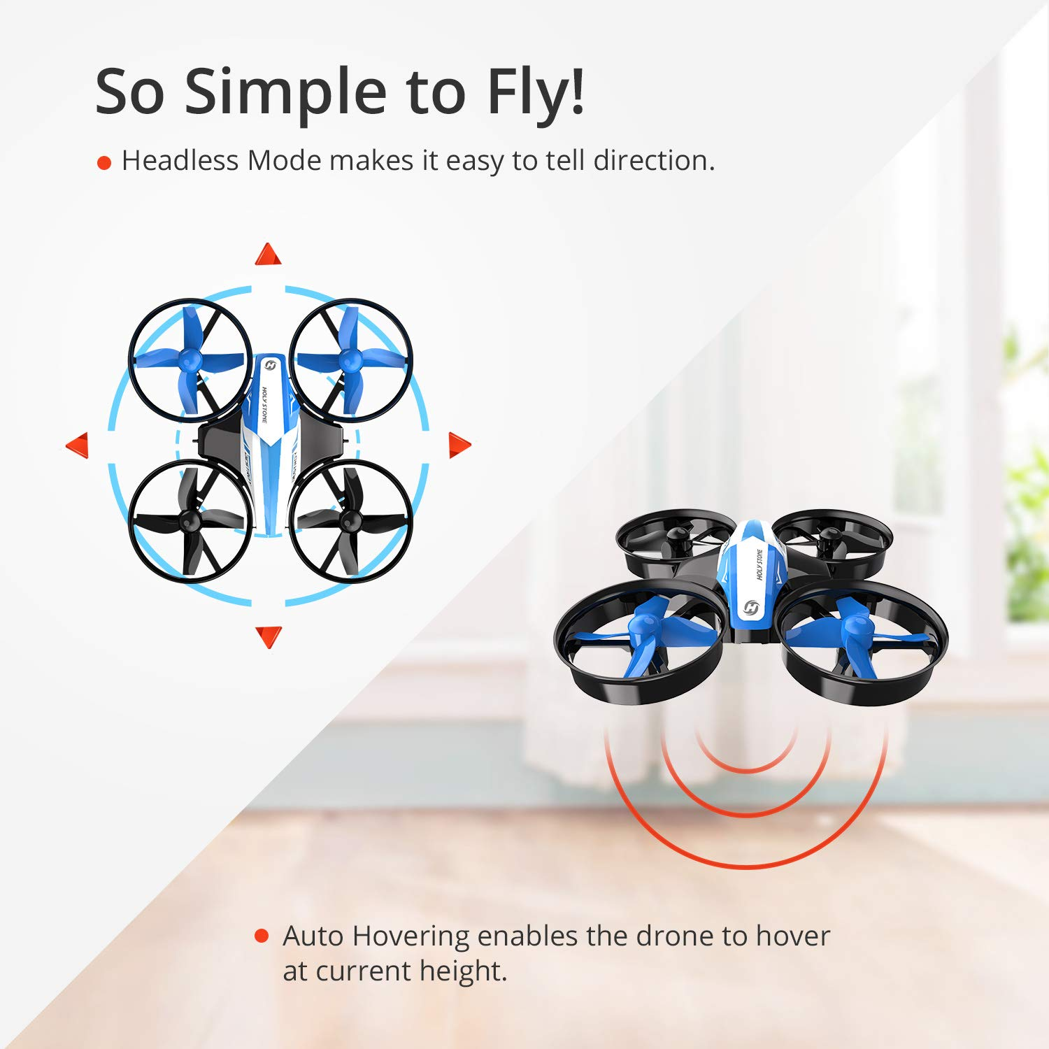 Holy Stone Mini Drone for Kids and Beginners RC Nano Quadcopter Indoor Small Helicopter Plane with Auto Hovering, 3D Flip, Headless Mode and 3 Batteries, Great Gift Toy for Boys and Girls, Blue by Holy Stone (Image #4)