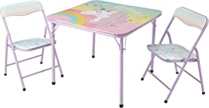 Heritage Kids Unicorn 3Piece Table & Chair Set with 2 Folding Chairs & 1 Table, Ages 3+, Mint