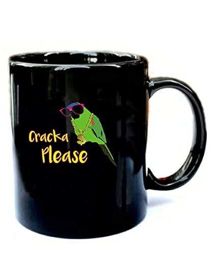 Amazon Com Cracka Please Parrot Funny Gift Black 11oz Ceramic