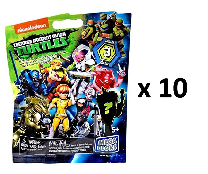 Teenage Mutant Ninja Turtles Mega Bloks Series 3 Mini Figure Blind Bag Party Favours - Pack of 10