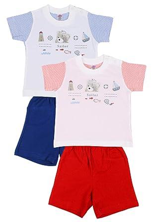 27f88ae828ca4 ZERO Baby Boy's Cotton Half Sleeves T-Shirt and Half Pant Set (White,