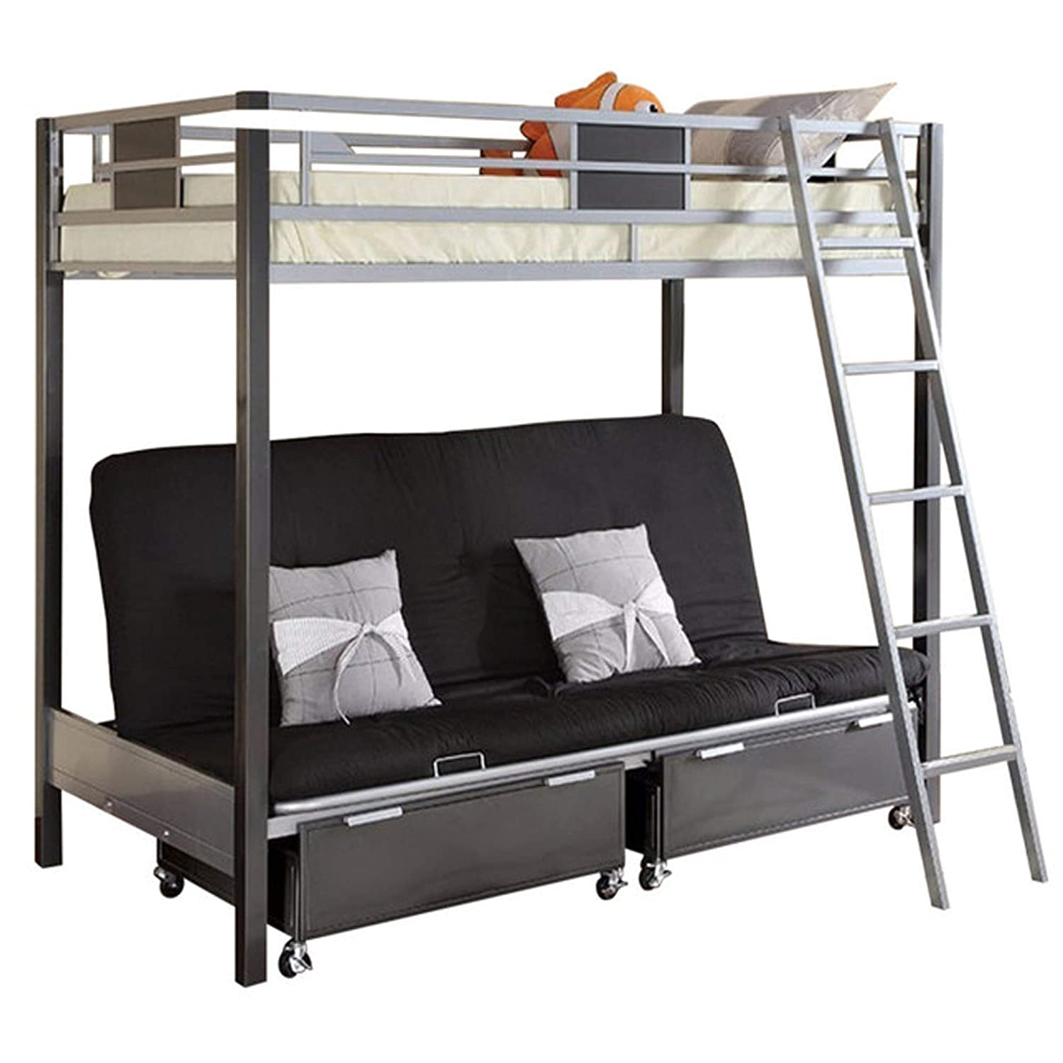 Amazon.com: Contemporary Style Twin / Futon Bunk Bed with Twin