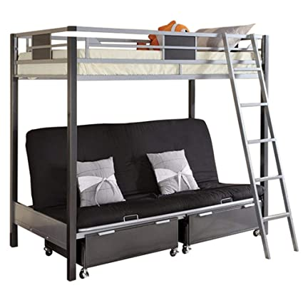 Amazon.com  Contemporary Style Twin   Futon Bunk Bed with Twin ... 3fd697baaf