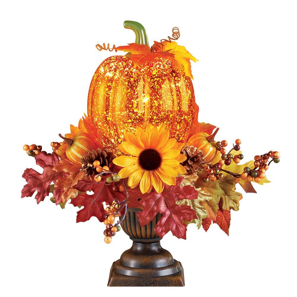 Collections Etc Lighted Pumpkin Harvest Floral Arrangement