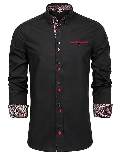 Amazon.com: PAUL JONES Camisa de manga larga con botones de ...