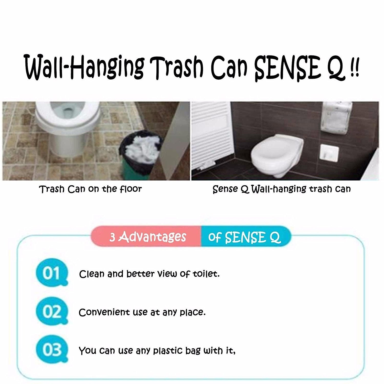 Amazon.com: NEW Sense Q Wall Hanging Plastic Trash Can, Hygienic  Wastebasket (Gray): Home & Kitchen