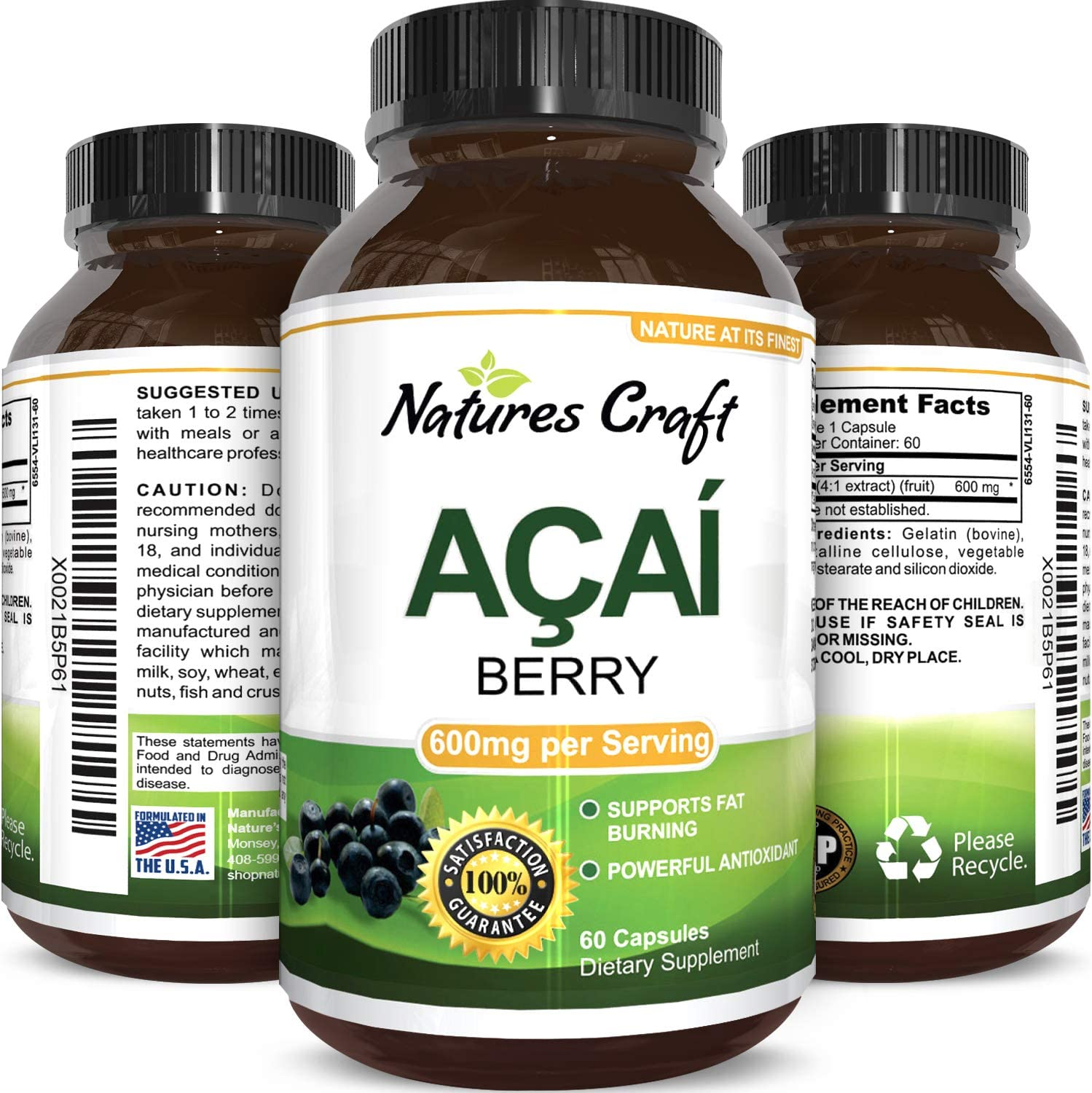 Amazon Com Natures Craft Pure Acai Berry Detox Weight Loss Supplement Natural Antioxidant Superfood Increase Energy Support Heart Health Burn Belly Fat Immune System Booster Skin Care Anti Aging 60 Capsules Health Personal