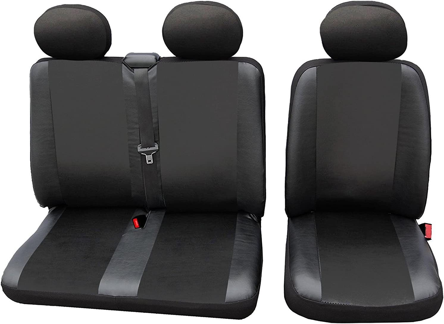 PEUGEOT EXPERT BOXER SEAT COVERS GREY BLACK FABRIC  FOR  2+1 VAN