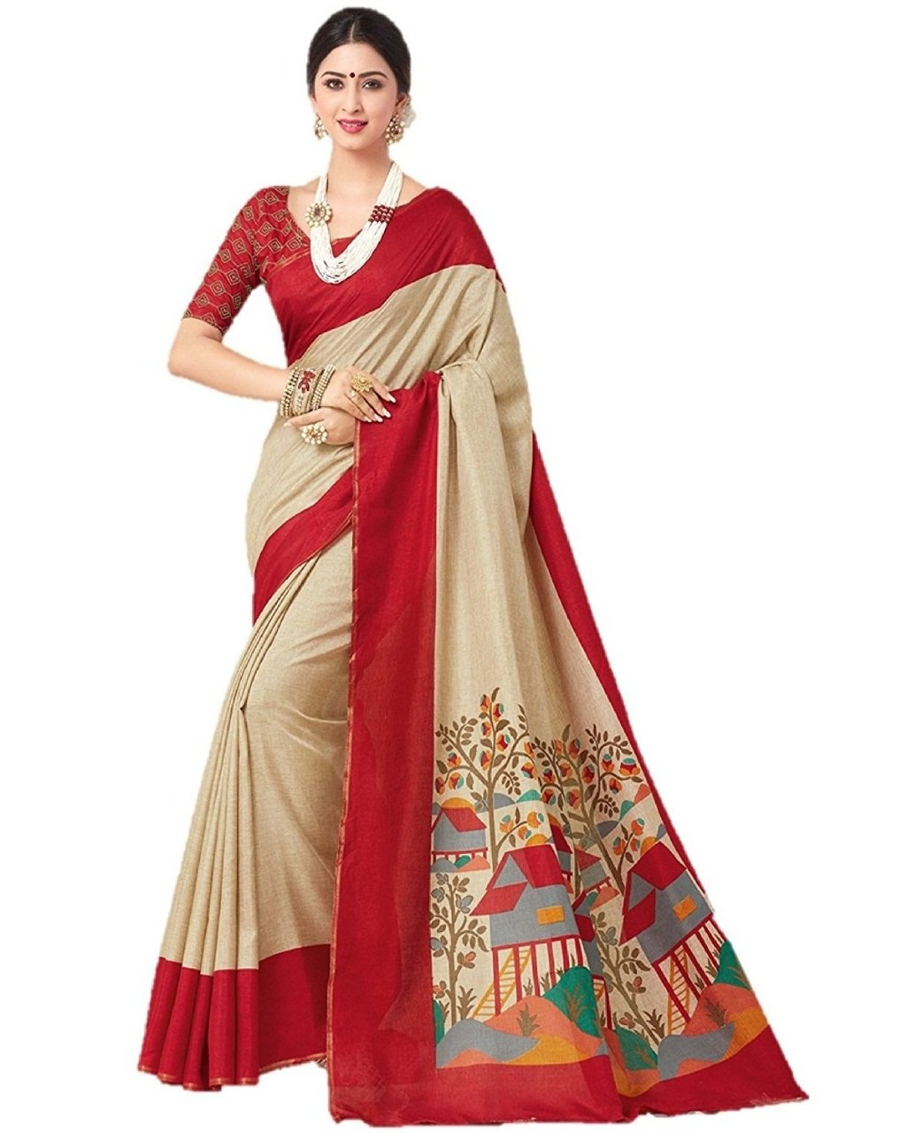 Bindani Studio Women's Saree With Blouse material For partywear,festival (Beige)