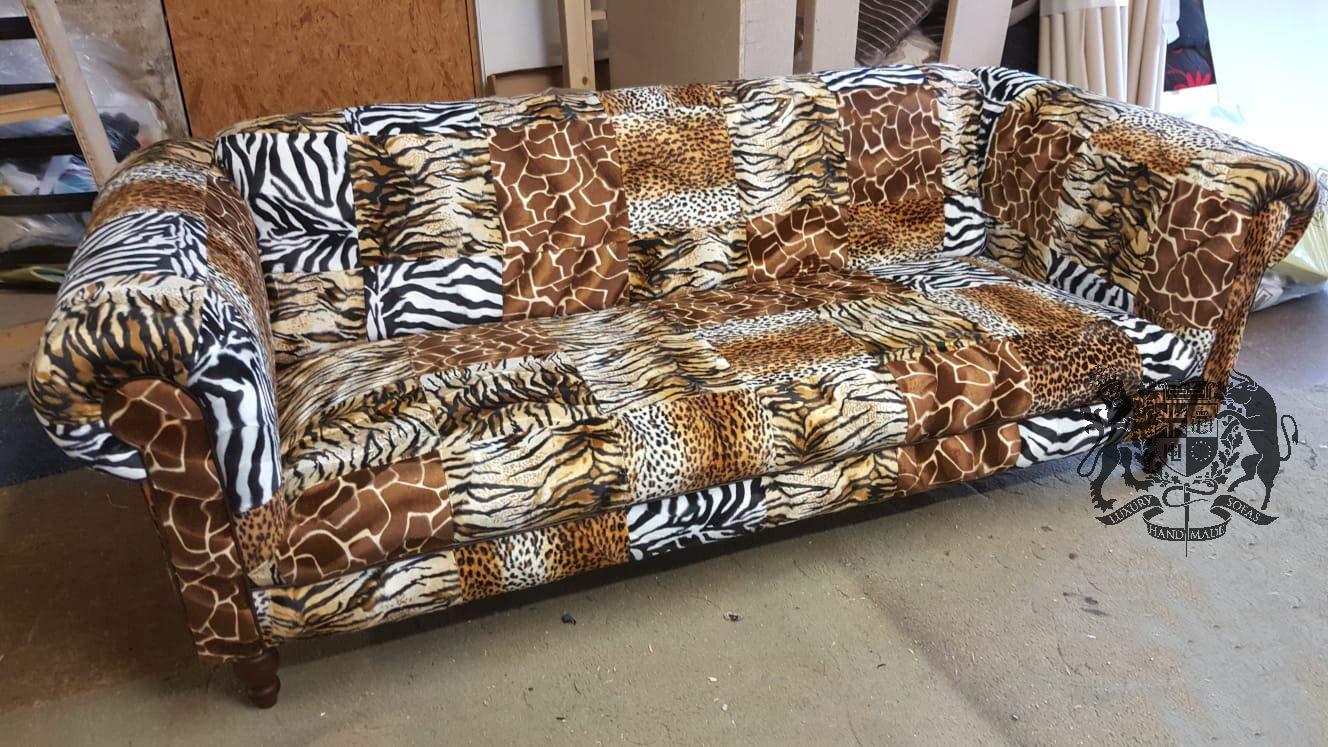 Safari animal print patchwork chesterfield sofa amazon co uk handmade