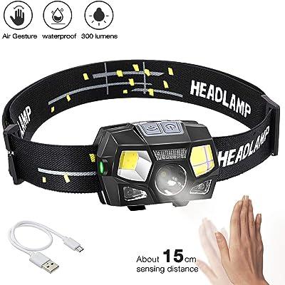BACKTURE Linterna Frontal, 300 Lumens Recargable USB Linterna Cabeza, 5 Modos LED Linternas Frontales con Sensor de Movimiento, IPX4 Impermeable para Camping, Excursión, Pesca, Carrera, Ciclismo