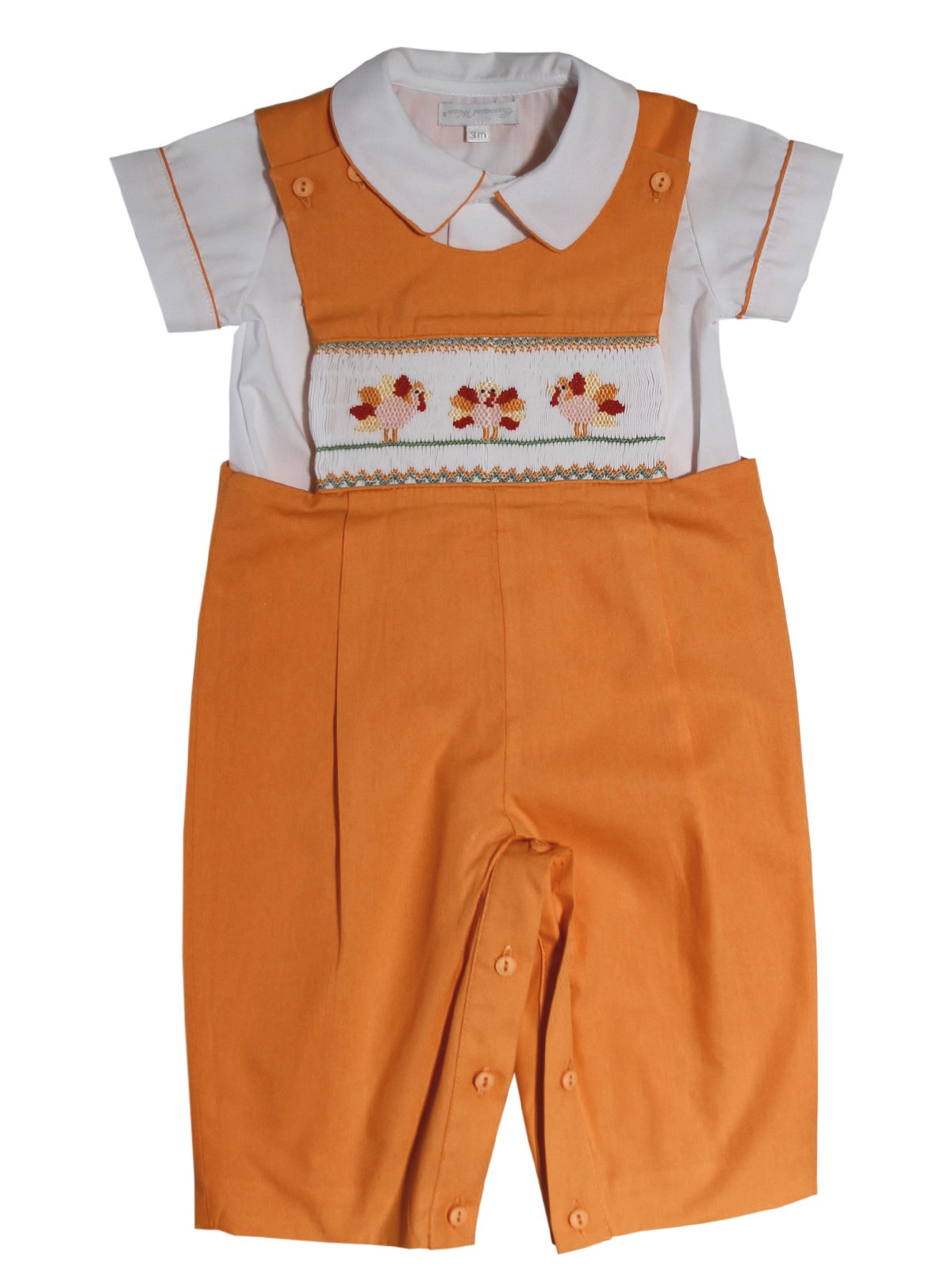 Carouselwear Boys Hand Smocked Thanksgiving Turkey Longall with Shirt