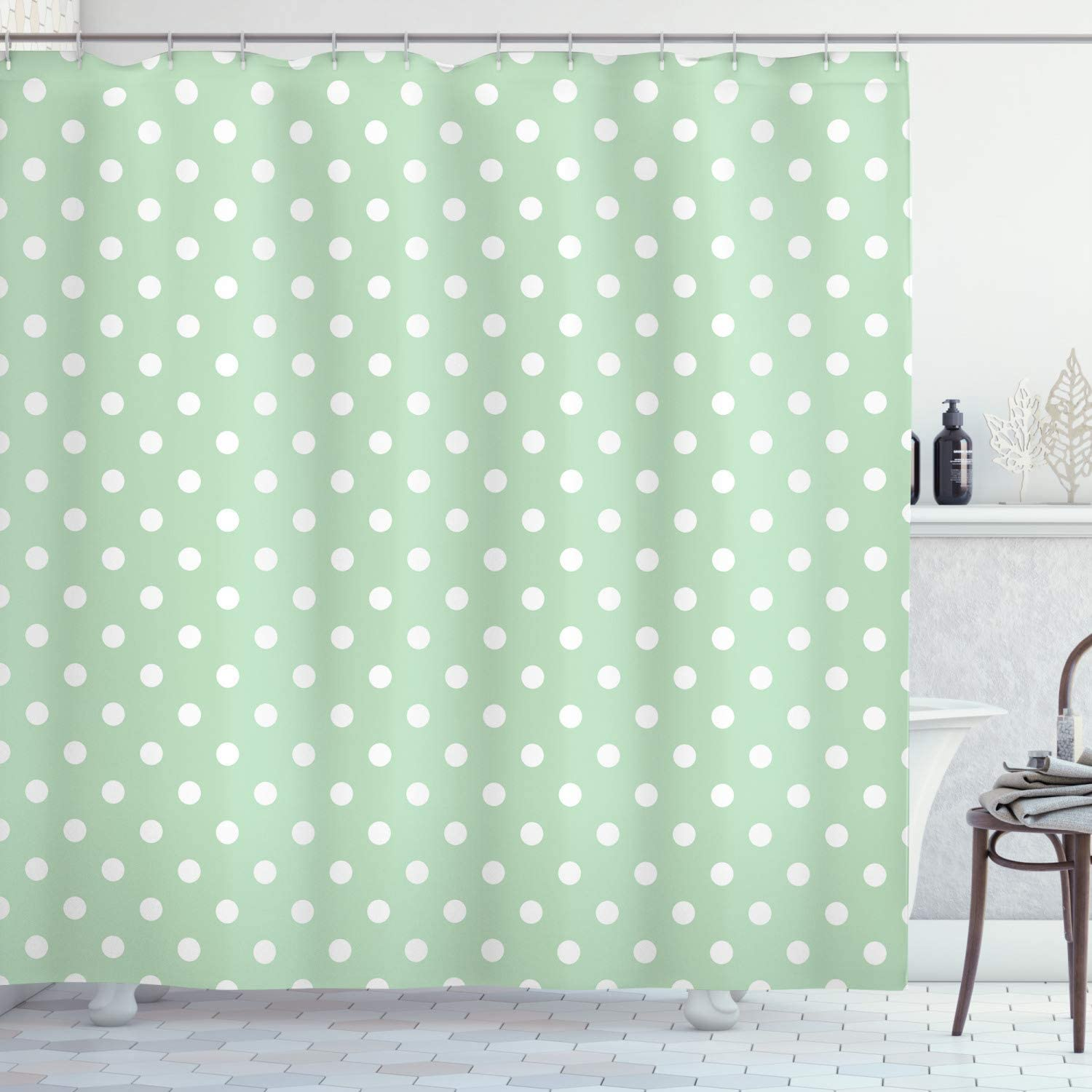 """Ambesonne Mint Shower Curtain, Classical Old Fashioned Polka Dots Pattern on Pale Green Fresh Background, Cloth Fabric Bathroom Decor Set with Hooks, 70"""" Long, Mint Green"""