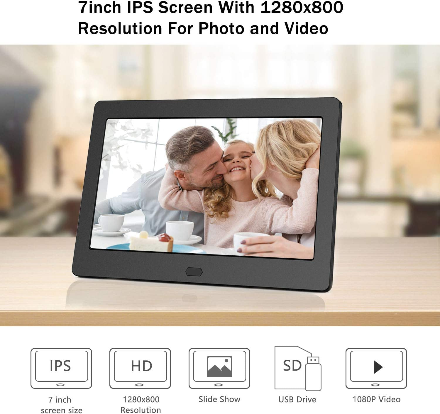 Atatat Digital Photo Frame 17.3 Inch IPS Screen Motion Sensor 1920x1080 High Resolution Digital Picture Frame Support 1080P Video//Music//Slide Show//Continue Playback//Adjustable Brightness//Auto Rotate