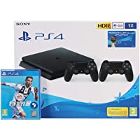 Sony PlayStation 4 Slim 1TB 2 Controllers, Black With FIFA 19 Arabic Edition (PS4)