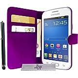 Etui Housse Luxe Violet Portefeuille Samsung Galaxy Grand Plus + STYLET et 3 FILM OFFERT!!