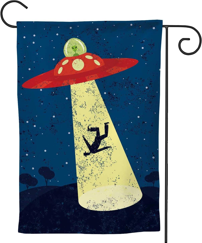 C COABALLA Alien Abduction,Welcome Garden Flag Double Sided Rustic Farmhouse Burlap Yard Outdoor Decoration 28''x40''