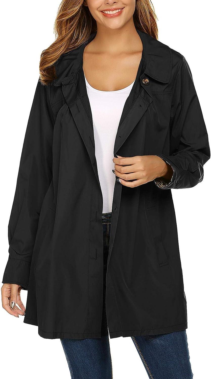 Beyove Womens Waterproof Raincoat Outdoor Hooded Lightweight Rain Jacket Windbreaker