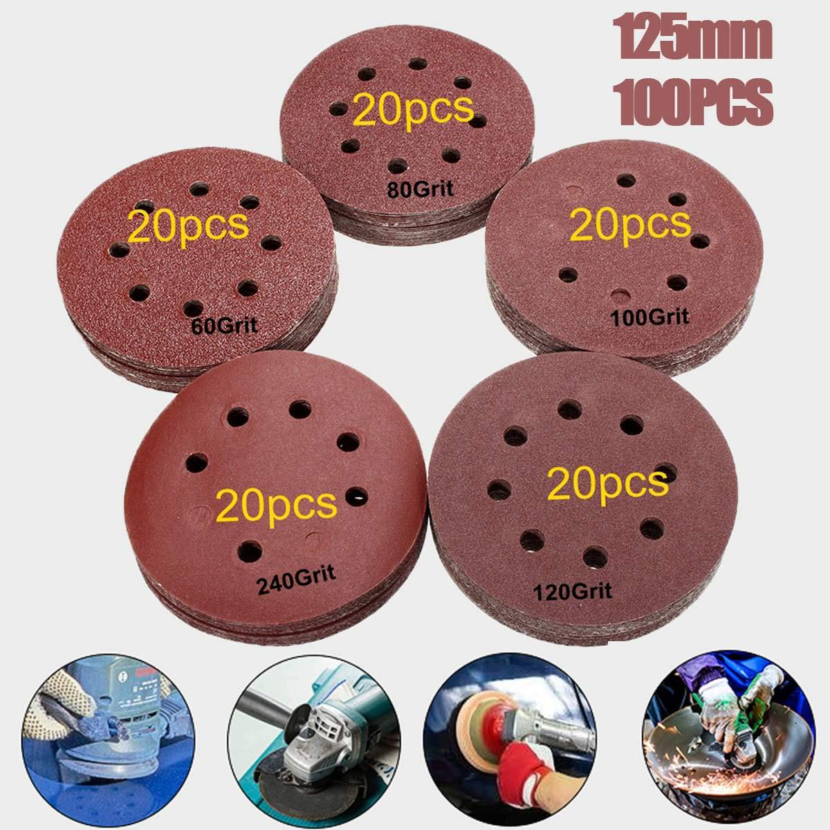 WGang 100pcs 125mm 60 80 100 120 240 Grit Round Shape Sanding Discs Buffing Sheet Sandpaper 8 Hole Sander Polishing Pad Each of 20 by WGang
