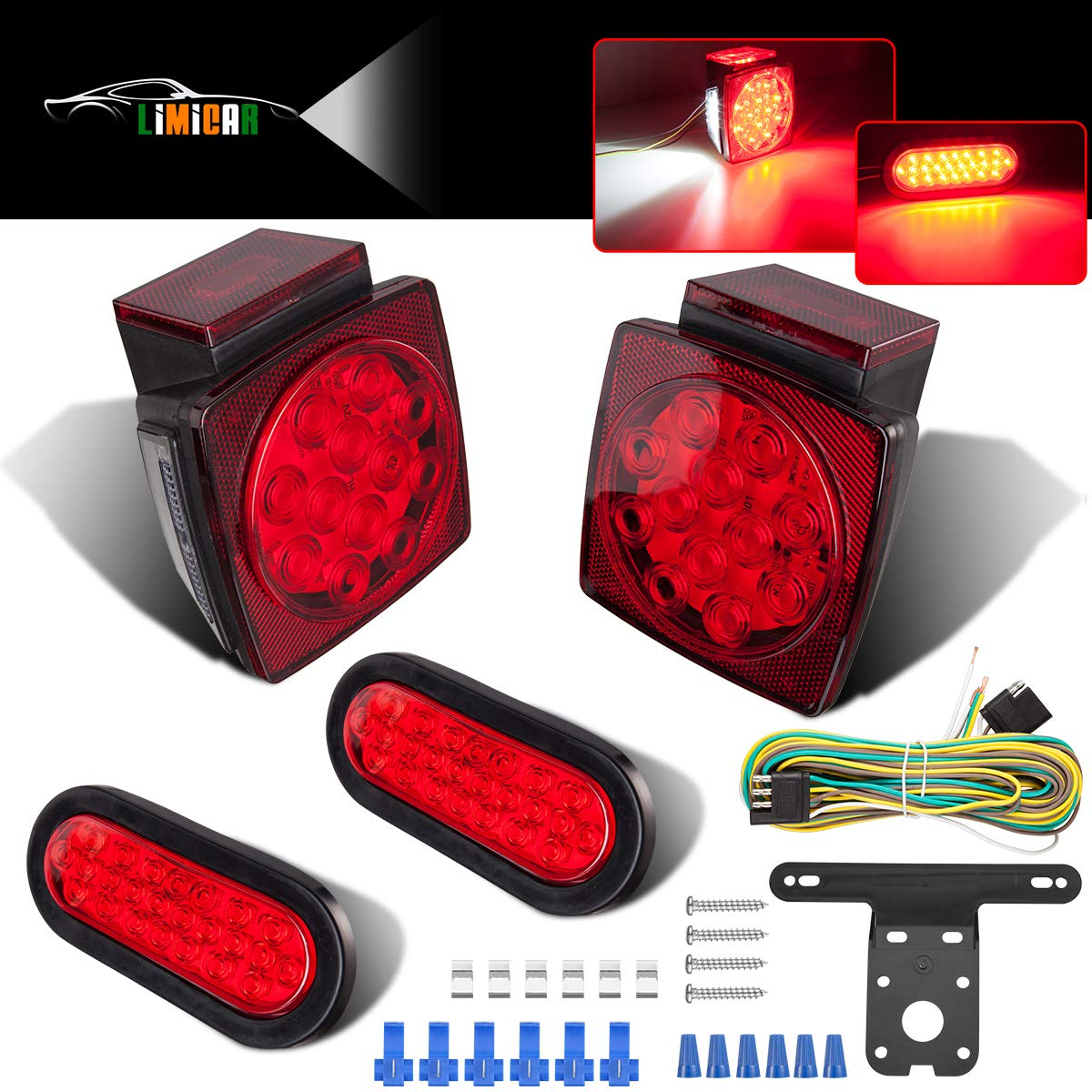 LIMICAR LED Square Trailer Lights Kit with 12 LED Amber Side Marker Lights Waterproof 12V Stop Turn Tail License Lights for Trailers Truck RV Camper