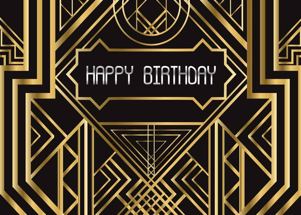 Qian Photography Backdrops Great Gatsby Happy Birthday Party Background Black and Gold Golden Banner Photo Studio Booth 7x5ft