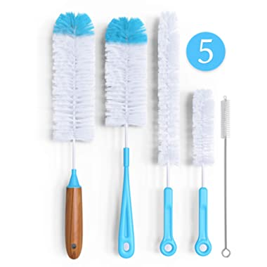 Bottle Brush Cleaner 5 Pack - Long Water Bottle and Straw Cleaning Brush - Kitchen Wire Scrub Set for Washing, Wine Decanter, Baby, Kombucha, Pipes, Hydro Flask Tumbler, Sinks, Beer Brewing Supplies