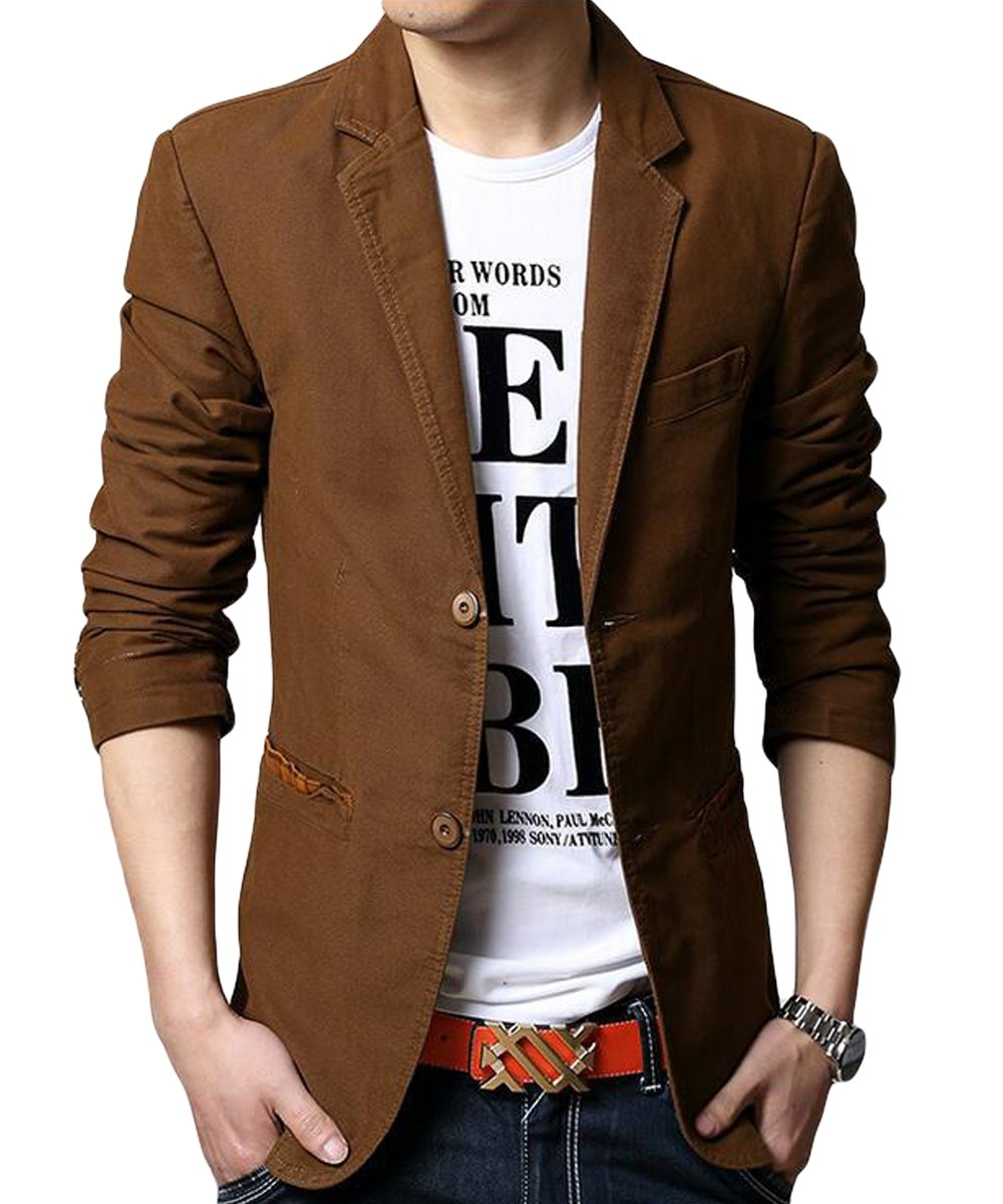 Cloudstyle Mens Slim Fit Blazer Jacket Single Breasted Cotton Casual Jacket 3 Colors